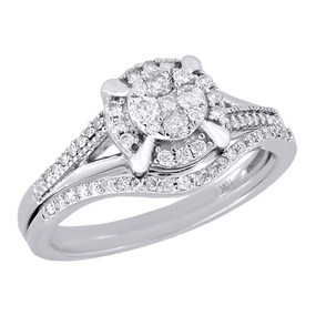 Diamond Wedding Bridal Set 10K White Gold Halo Flower Engagement Ring 0.40 Ct.