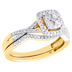 10K Yellow Gold Diamond Bridal Set Square Engagement Ring + Wedding Band 0.50 CT