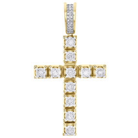 "10K Yellow Gold Genuine Diamond 1 Row Prong Set Cross Pendant 1.8"" Charm 3/4 CT."