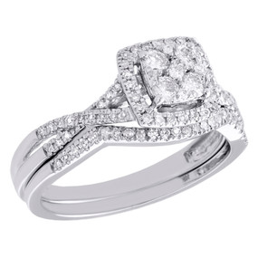 10K White Gold Diamond Bridal Set Square Engagement Ring + Wedding Band 0.50 CT.