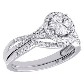 10K White Gold Diamond Bridal Set Circle Engagement Ring + Wedding Band 0.50 CT.