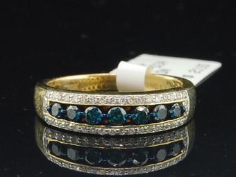 Ladies 10K Yellow Gold Blue & White Diamond Engagement Ring Wedding Band .52 Ct.