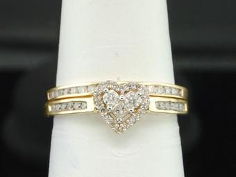 Ladies 10K Yellow Gold Diamond Engagement Ring Heart Wedding Band Bridal Set .5C