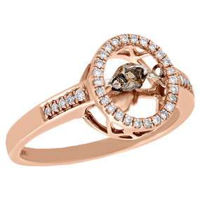 10K Rose Gold Dancing Brown Diamond Engagement Ring Halo Ladies Band 0.38 Ct.