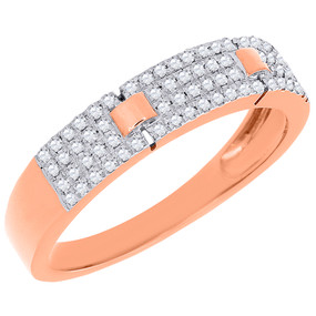Diamond Anniversary Band Ladies 10K Rose Gold Round Cut Wedding Ring 0.25 Ct.