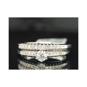 10K White Gold Round Solitaire Diamond Engagement Ring Bridal Set 0.35 Ct.