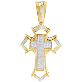 Genuine Diamond Cross Pendant Mens Yellow Gold Mini Domed Pave Charm 0.55 Ct.