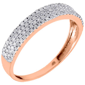 Diamond Wedding Anniversary Band Ladies 10K Rose Gold Round Cut Ring 0.33 Ct.