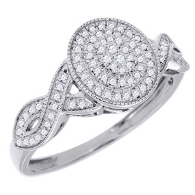 10K White Gold Diamond Engagement Wedding Ring Round Cut Halo Style 1/4 Ct.