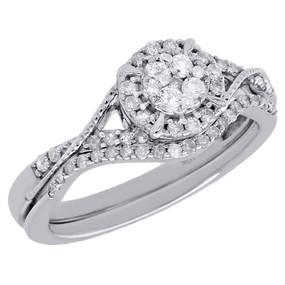 10K White Gold Diamond Flower Halo Wedding Ring Engagement Bridal Set 0.38 Ct.