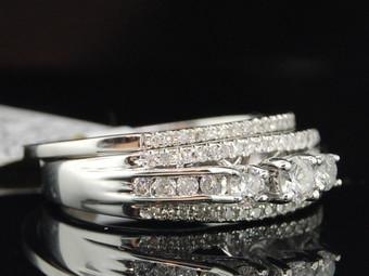 White Gold Round Diamond 3 Stone Engagement Ring Wedding Band Bridal Set 0.50 Ct