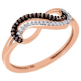 10K Rose Gold Red & White Diamond Infinity Fashion Ring Anniversary 0.10 Ct.