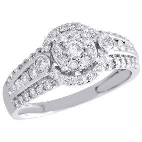 10K White Gold Round Diamond Wedding Engagement Ring Ladies Cluster Halo 0.76 CT