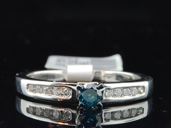 Blue Solitaire Diamond Engagement Ring 10K White Gold Round Cut 0.30 Ct