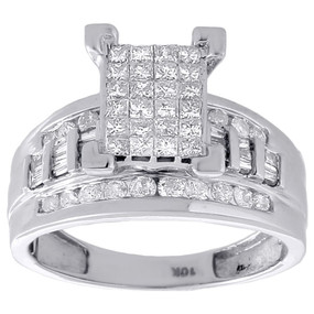 10k White Gold Real Princess Cut Diamond Engagement Wedding Bridal Ring 1 tcw.