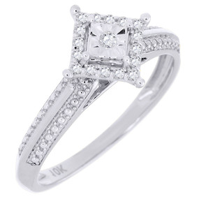 Diamond Promise Engagement Wedding Ring 10K White Gold Square Shape 0.10 Ct.