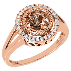 10K Rose Gold Brown Dancing Diamond Halo Statement Cocktail Fashion Ring 0.40 Ct