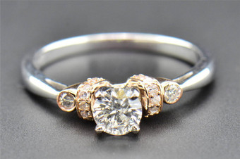 Solitaire Diamond Engagement Ring 10K White & Rose Gold Round Cut 3 Stone .66 Ct