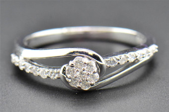 Diamond Engagement Ring Ladies Round Cut Flower Promise 10K White Gold 0.25 Ct