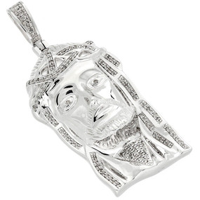.925 Sterling Silver Diamond Micro Mini Jesus Face Piece Pendant Charm 0.75 CT