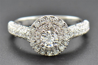 Round Solitaire Diamond Engagement Ring 14K White Gold Circle Halo 1.00 Ct