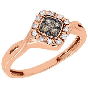 10K Rose Gold Brown Diamond Square Right Hand Cocktail Fashion Ring 0.18 Ct.