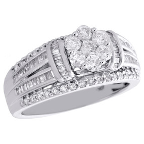 10K White Gold Baguette Diamond Flower Split Shank Ladies Engagement Ring 1 CT.