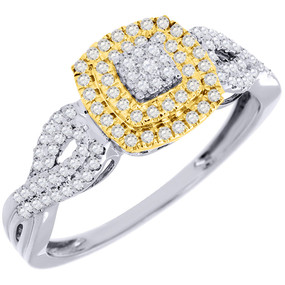 Diamond Promise Engagement Wedding Ring 10K Two Tone Gold Round Cut 1/3 Ct.