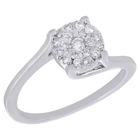 10K White Gold Round Diamond Promise Anniversary Engagement Bypass Ring 0.50 Ct.