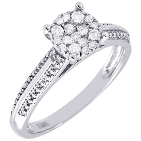 Diamond Engagement Wedding Ring Ladies 10K White Gold Round Cut Band 0.28 Tcw.