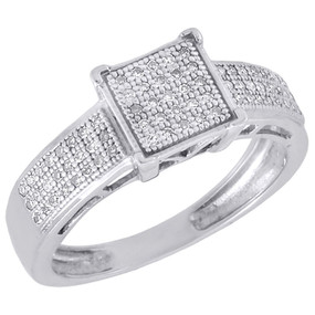.925 Sterling Silver Diamond Promise Anniversary Engagement Square Ring 0.20 Ct.