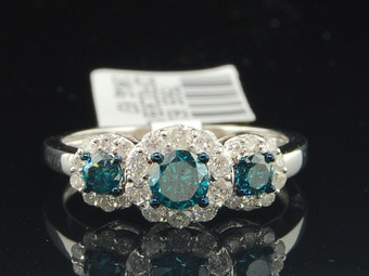 Ladies 10K White Gold Blue & White Diamond Engagement Ring 3 Stone Halo Set Band