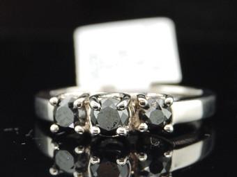 Ladies 14K White Gold 1Ct 3 Stone Black Diamond Engagement Ring Wedding Ring Set