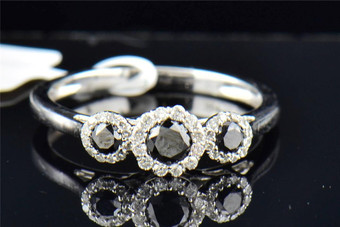 Ladies 10K White Gold 3 Stone Black Diamond Halo Engagement Anniversary Ring