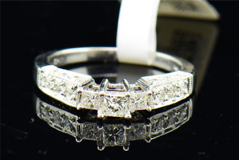 Diamond Solitaire Three Stone Engagement Ring Ladies 14K White Gold 0.60 Tcw.