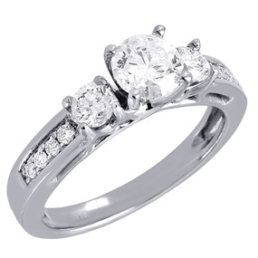 14K White Gold Round Solitaire Diamond Wedding Engagement 3 Stone Ring 1.25 Ct.