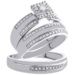.925 Sterling Silver Soltiaire Diamond Trio Set Engagement + Wedding Ring 1/4 Ct