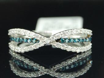 14K White Gold Genuine Blue & White Diamond Band 6mm Ladies Wedding Ring 1/2 CT.