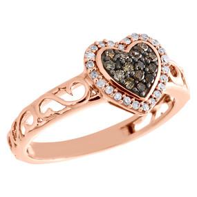 10K Rose Gold Brown Diamond Heart Ring Ladies Filigree Vintage Band 0.25 CT.