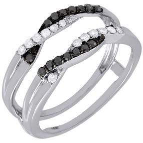 10K White Gold Black Diamond Solitaire Engagement Ring Enhancer Wrap 0.27 Ctw.