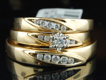 Diamond Engagement Wedding Ring 10K Yellow Gold Round Matching Trio Set 1/4 Tcw.