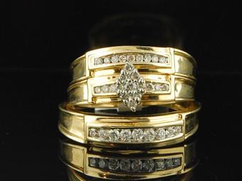 Diamond Matching Wedding Set Yellow Gold Round Cut Engagement Ring Trio 0.51 Ct