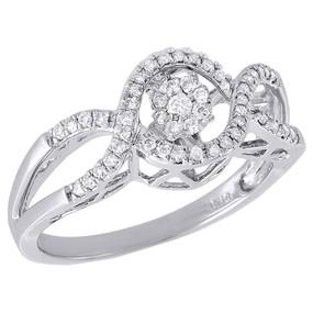 10K White Gold Infinity Design Shimmering Diamond Dancing Promise Ring 0.26 Ct.