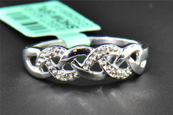 Diamond Infinity Ring Ladies .925 Sterling Silver Fashion Designer Band 0.02 ct.