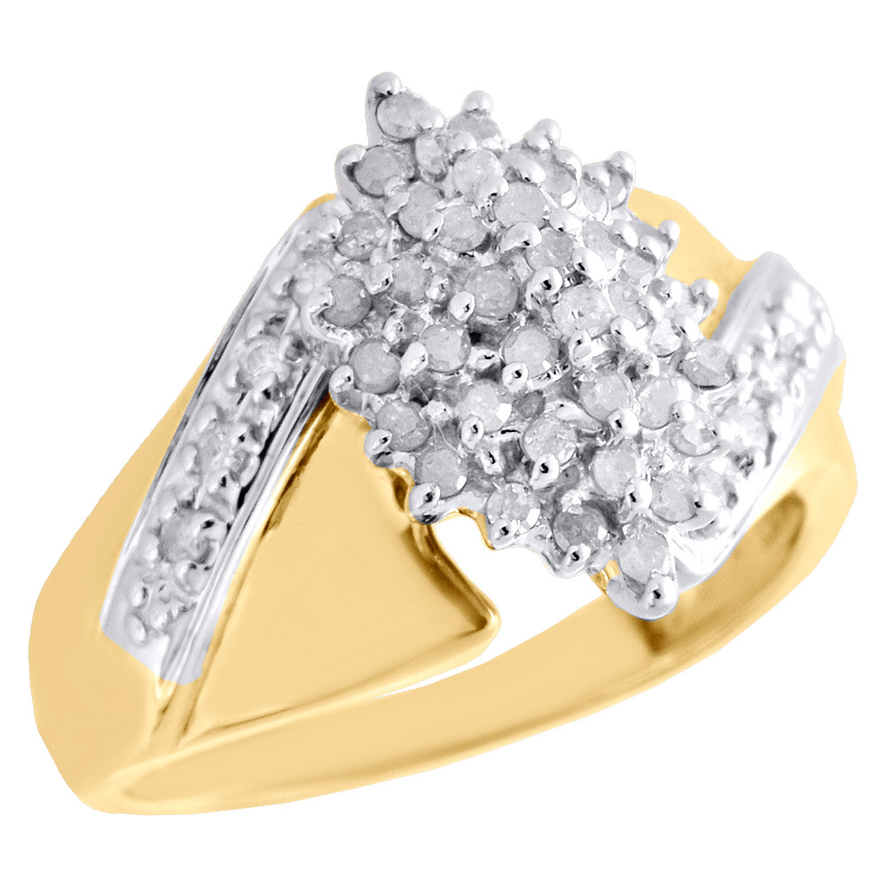 b7fa46eb4 ... 10K Yellow Gold Diamond Cluster Marquise Right Hand Ladies Cocktail  Ring 0.50 CT. Image 1