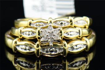 Diamond Star Trio Set 10K Yellow Gold Round Engagement Wedding Ring 0.10 Tcw.