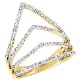 10K Yellow Gold Diamond Ladies Pointed Contour Fashion Right Hand Ring 0.40 Ct.