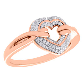 10K Rose Gold Diamond Cut Out Heart Ribbon Right Hand Cocktail Ring 1/5 CT.