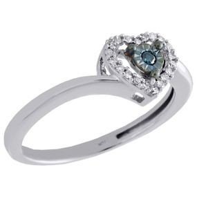 10K White Gold Real Blue Diamond Heart Shape Halo Engagement Promise Ring 1/10CT