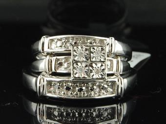 10K Mens Ladies White Gold Diamond Engagement Ring Wedding Band Trio Bridal Set
